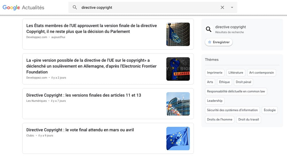 exemple d'affichage de google actualité en France